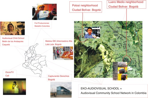 Figure 4. Audiovisual schools from Medelln, Cali, Caquet and neighborhoods in Bogot interact through the Audiovisual Community School Network and meet every year at the FICVAC.