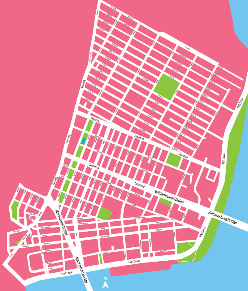 Figure 1: The geographic boundaries of the Lower East Side.