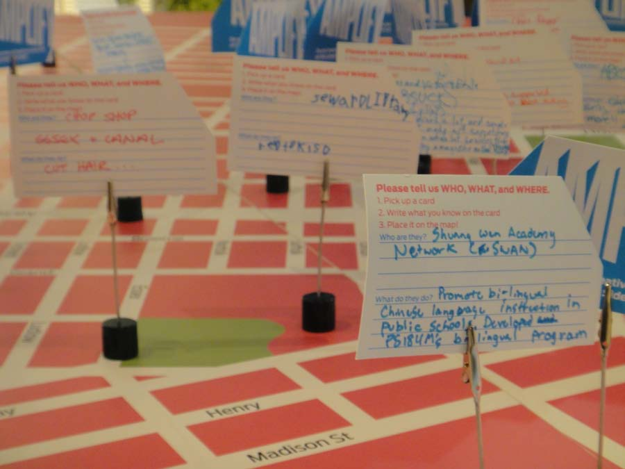 Figure 4: Overview of Section 2 of the Amplify exhibition at the Abrons Art Center with the index cards used by the public.