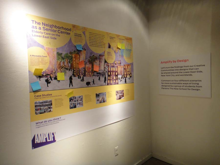 Figure 7: Overview of Section 5 of the Amplify exhibition at the Abrons Art Center with a poster with one of scenarios designed by students for the Lower East Side.