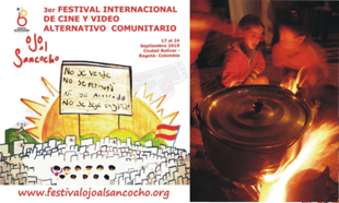 """Figure 9. A drawing made by kids from the Eko school is the official poster of the festival and the making of """"sancocho"""" in the streets of Ciudad Bolívar as initiation ritual to start the festival."""